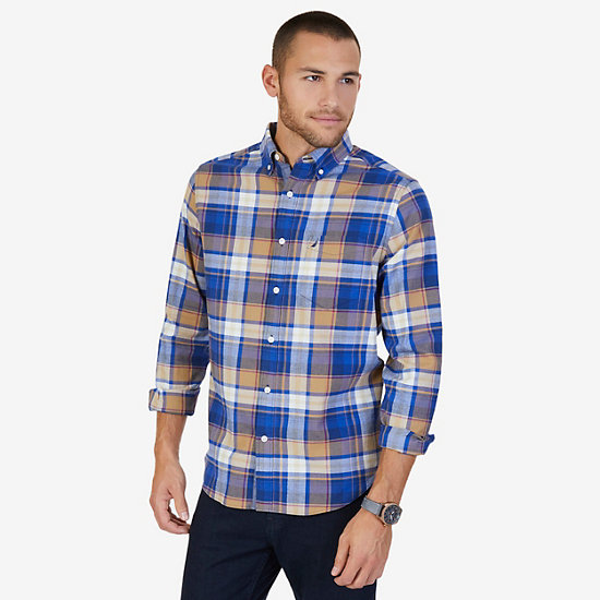 CLASSIC FIT  PLAID SHIRT,Dark Brown,large