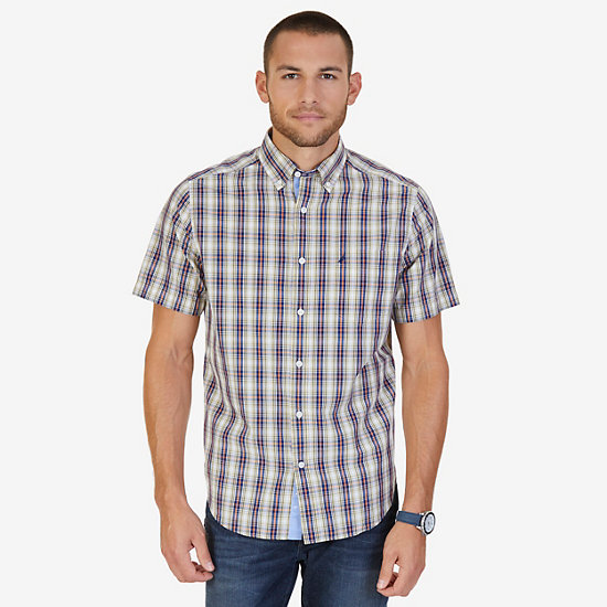 Classic Fit Plaid Poplin Shirt,Woodrift Flax,large