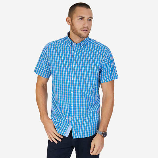 Tartan Plaid Classic Fit Short Sleeve Button Down Shirt - Sport Navy