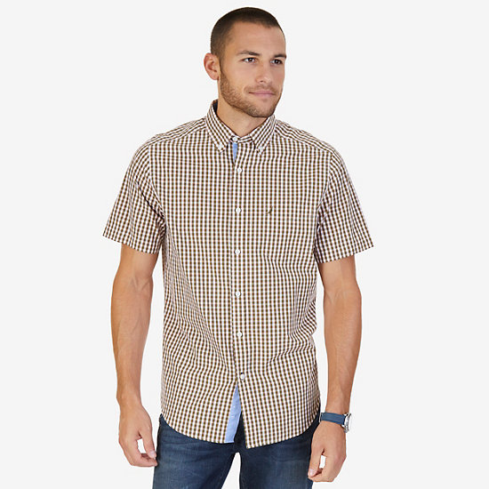 Classic Fit Plaid Poplin Shirt - Woodrift Flax