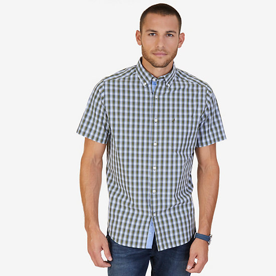Classic Fit Plaid Poplin Shirt - Green Spruce