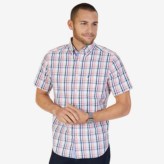 Madras Plaid Classic Fit Short Sleeve Button Down Shirt,Orange,large