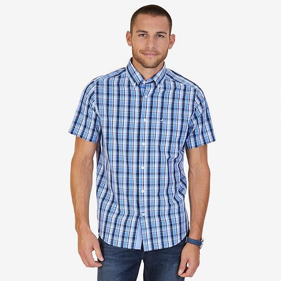 Classic Fit Sky Plaid Shirt,Blue,large