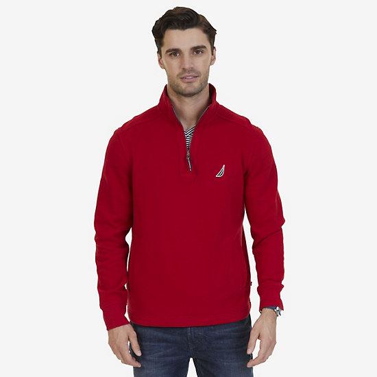 Nautica Big & Tall Quarter Zip Pullover - Nautica Red