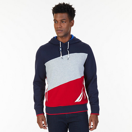 Nautica Big & Tall Color Blocked Logo Pullover Hoodie - Navy