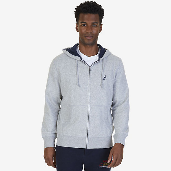 Big & Tall Full-Zip Classic Hoodie - Grey Heather