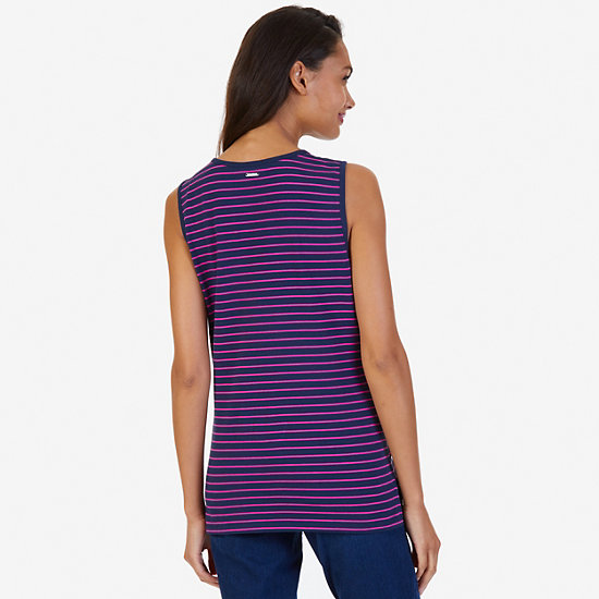 Grommet Striped Sleeveless Top,Dreamy Blue,large