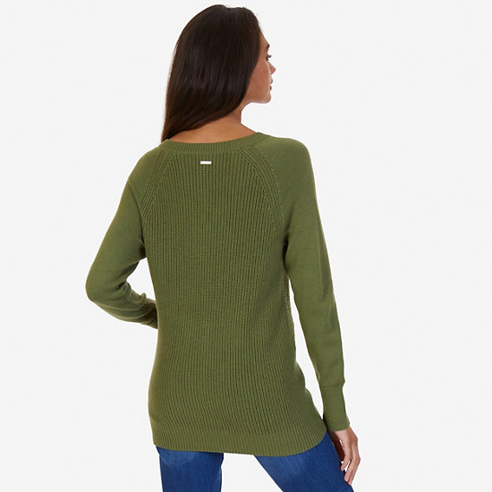 Lace Up Sweater,Light Olive,large