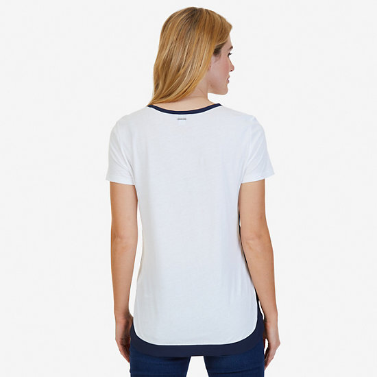 High-Low Hem Short Sleeve Top,Marshmallow,large