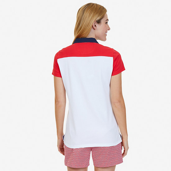 Striped Color Blocked Polo Shirt,Bright White,large