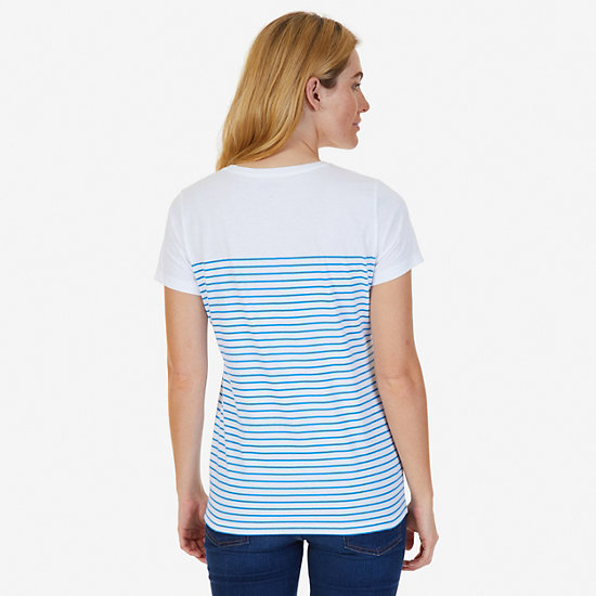 Striped V-Neck Tee,Naval Blue,large