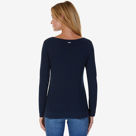 Grommet Hem Sweater,Deep Sea,large