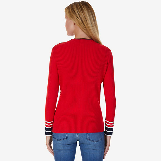 Ribbed Sweater,Tomales Red,large