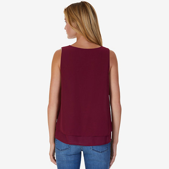 Double Layered Sleeveless Top,Port Scarlet,large