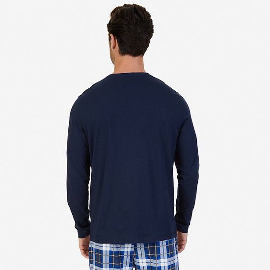 Slim Fit Long Sleeve Logo Sleep T-Shirt,Navy,large