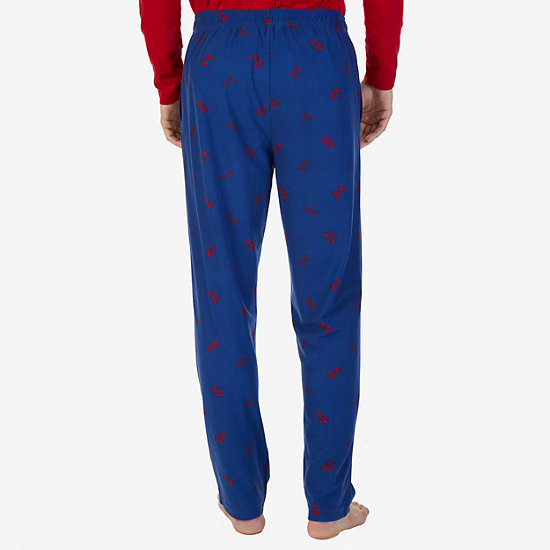 Cozy Fleece Anchor Print Pajama Pants,Estate Blue,large