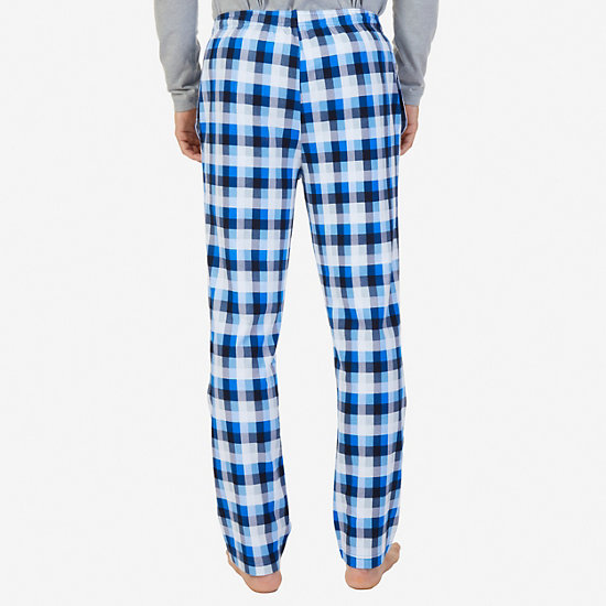 Plaid Sueded Jersey Pajama Pants,True Navy,large