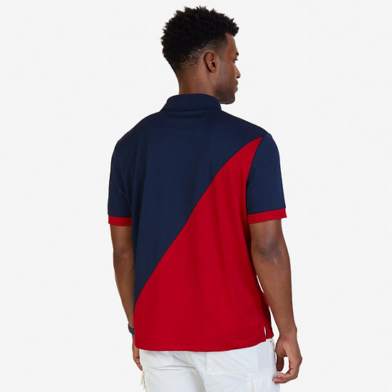 Classic Fit Diagonal Color Blocked Performance Polo Shirt,Navy,large