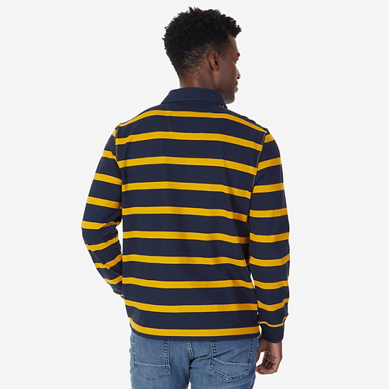 Classic Fit Striped Long Sleeve Polo Shirt,Yellow,large