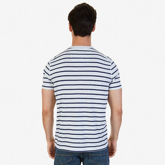 Slim Fit Striped Henley Shirt,Bright White,large