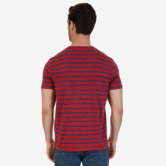 Slim Fit Striped Henley Shirt,Nautica Red,large