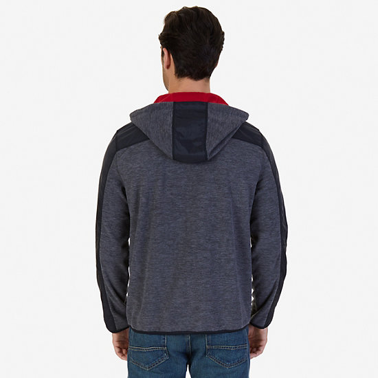 Color Block Zip-Front Hoodie,Charcoal Hthr,large