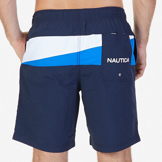 Quick Dry Sailing Flag Color Block Swim Trunk,Navy,large