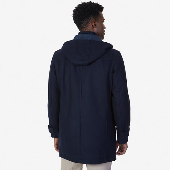 Hooded Toggle Coat,Navy,large