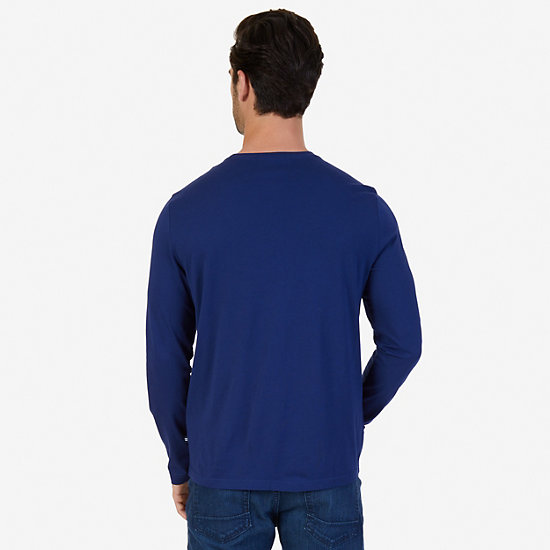 Rowing Team Graphic Long Sleeve T-Shirt,Monaco Blue,large