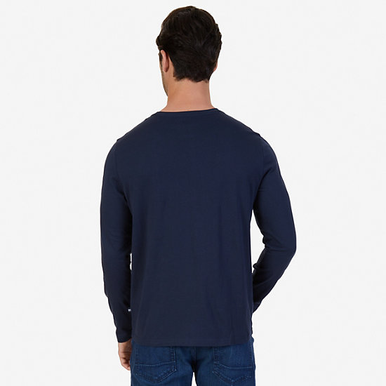 White Lines Graphic Long Sleeve T-Shirt,True Navy,large