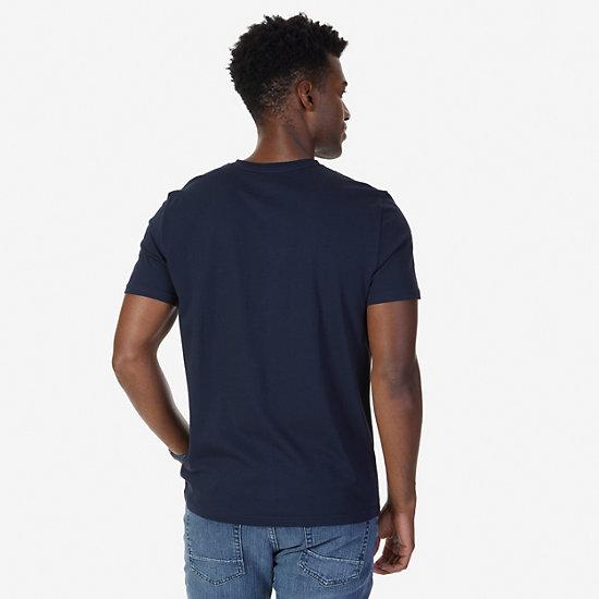 Solid V-Neck Slim Fit T-Shirt,Navy,large