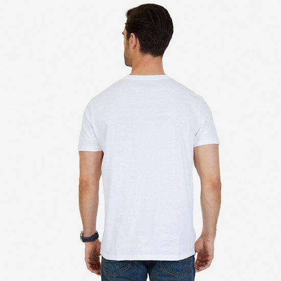 City-Sea Graphic V-Neck T-Shirt,Bright White,large