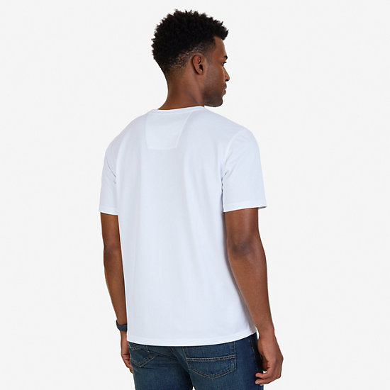 Chest Stripe Wicking T-Shirt,Bright White,large