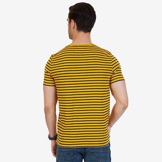 Striped Crew-Neck T-Shirt,Yellow,large
