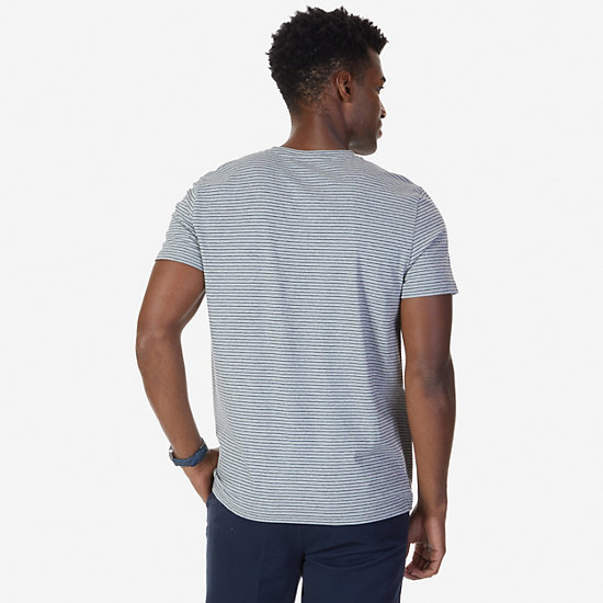 Striped V-Neck T-Shirt,Grey Heather,large