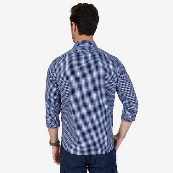 Slim Fit Wrinkle Resistant Windowpane Shirt,Monaco Blue,large