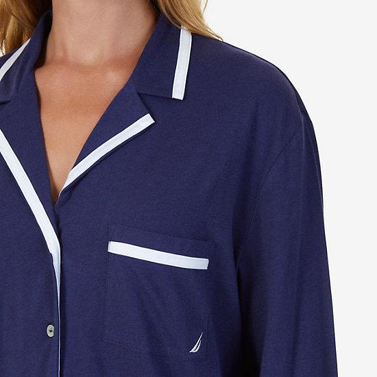 Contrast Piping Jersey Knit Pajama Set,Deep Sea Navy,large
