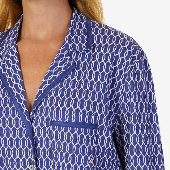 Printed Pajama Set,Navy,large