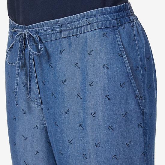 Anchor Print Chambray Pants,Cape Grey Wash,large