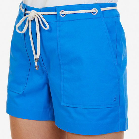 """Solid Shorts with Rope Belt - 4"""" Inseam,Naval Blue,large"""