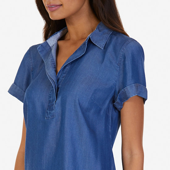 Denim Popover Shirt,Cape Grey Wash,large