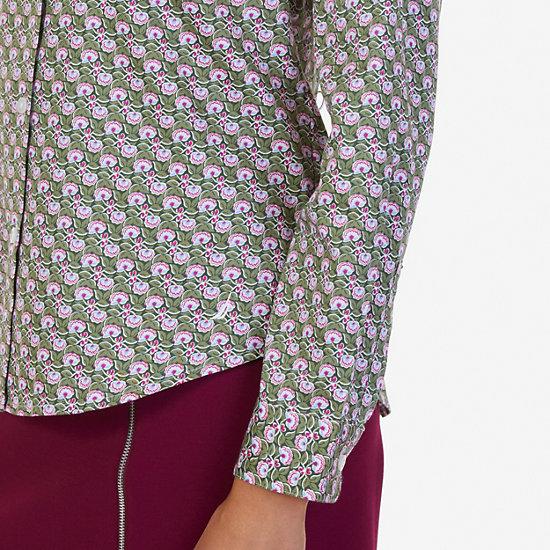 Sateen Floral Leaf Perfect Shirt,Kelp Seas,large