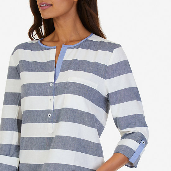 Striped Popover Shirt,Marshmallow,large