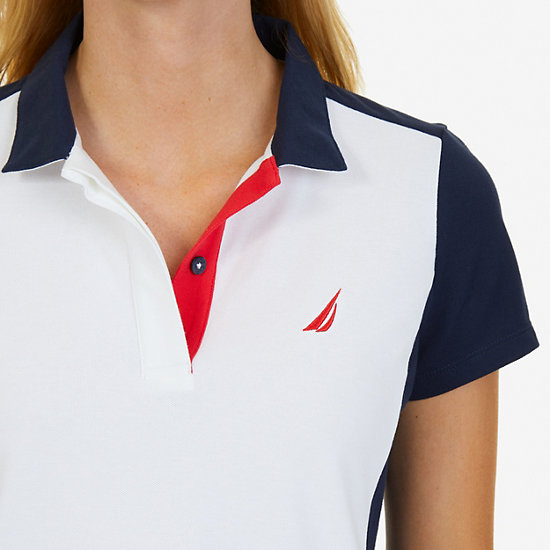 Short Sleeve Colorblock Classic Fit Polo Shirt,Bright White,large