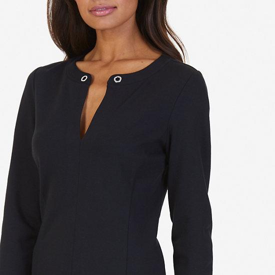 Grommet Ponte Dress,True Black,large