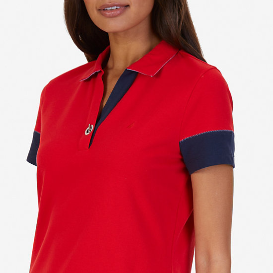 Colorblock Classic Fit Polo Shirt,Tomales Red,large