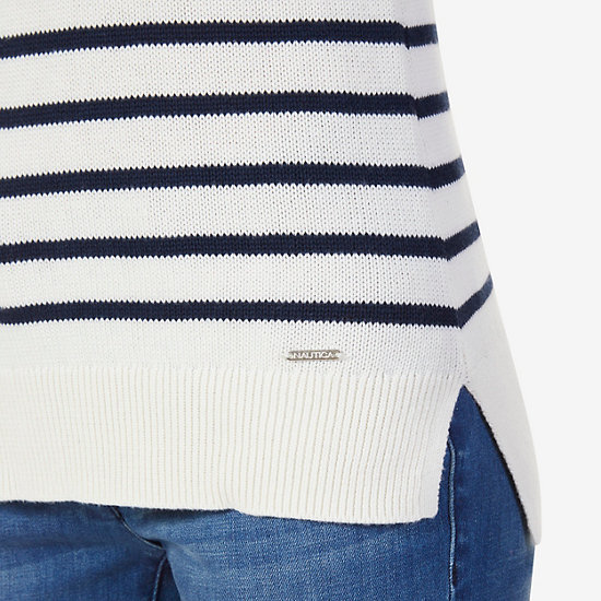 Striped Sweater,Marshmallow,large