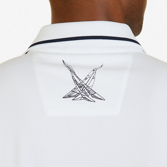 Classic Fit Chest Stripe Wicking Polo Shirt,Bright White,large