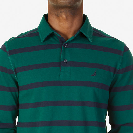 Classic Fit Striped Long Sleeve Polo Shirt,Cosmic Fern,large