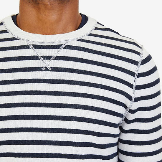 Nautica Striped to Solid Reversible Sweater,Marshmallow,large